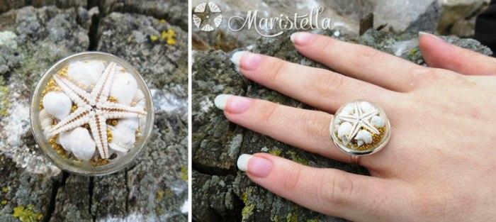 Серебряное кольцо от Maristella:  настоящая морская звезда, золотой микробисер и настоящие миниатюрные ракушки и кораллы.