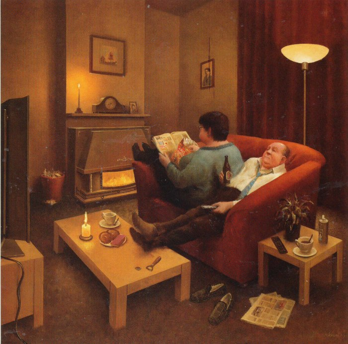 Типичный семейный вечер. Автор: Marius van Dokkum.