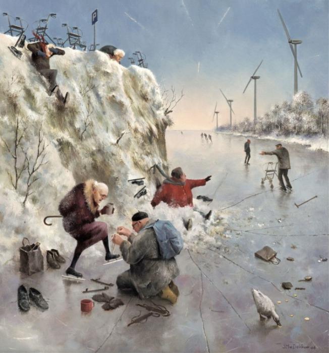 Зимние развлечения. Автор: Marius van Dokkum.