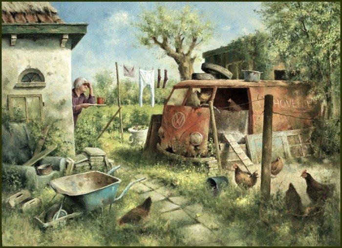 Деревенские будни. Автор: Marius van Dokkum.