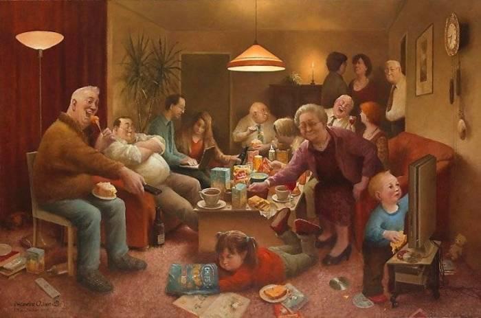 Семейный вечер. Автор: Marius van Dokkum.