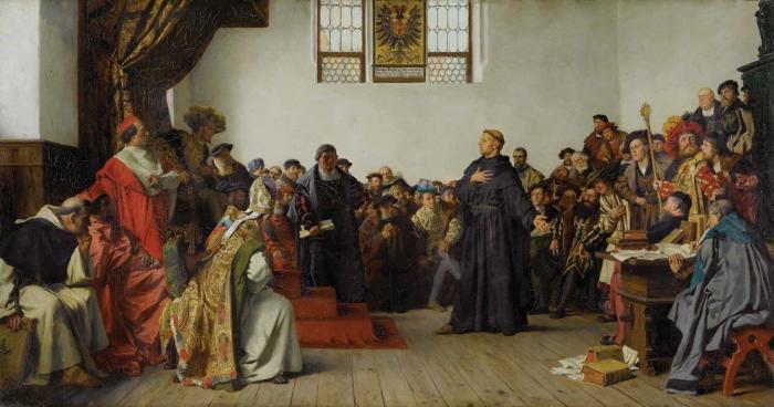 Вормсский рейхстаг:  Лютер на Диете червей - картина 1877 года Антона фон Вернера.  Фото: ethikapolitika.org.