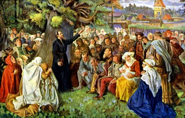 Проповедь Яна Гуса на Козим Градку (na Kozim hradku).  Фото: pragagid.ru.