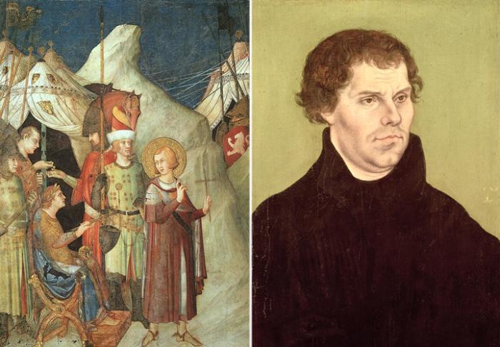 Слева: «Святой Мартин отказывается от меча» - картина Симоне Мартини.  Справа: Мартин Лютер.  Фото: artchive.ru.