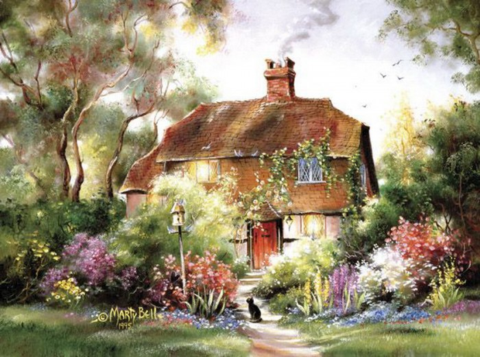 Домик, утопающий в цветах и солнечном свете. Автор: Marty Bell.