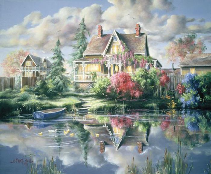 Уютный маленький дом, деревья и озеро... Автор: Marty Bell.