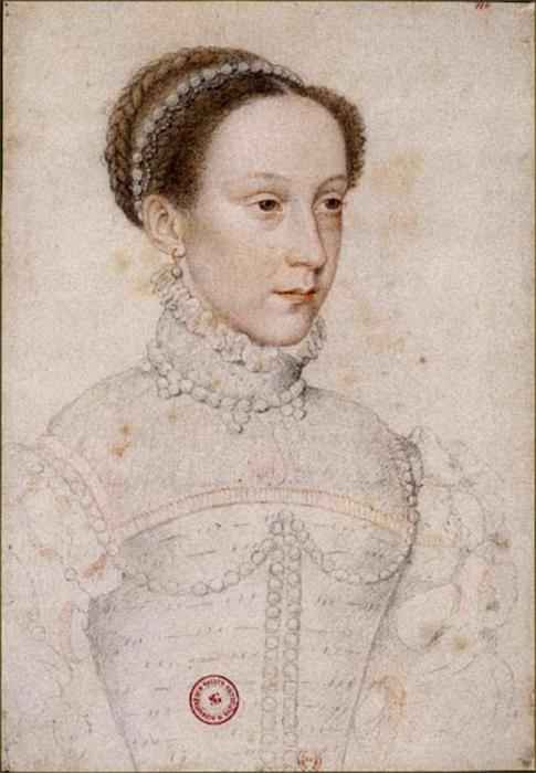 Мария, автором картины считается придворный живописей французских королей Франсуа Клуэ. \ Фото: altesses.eu.