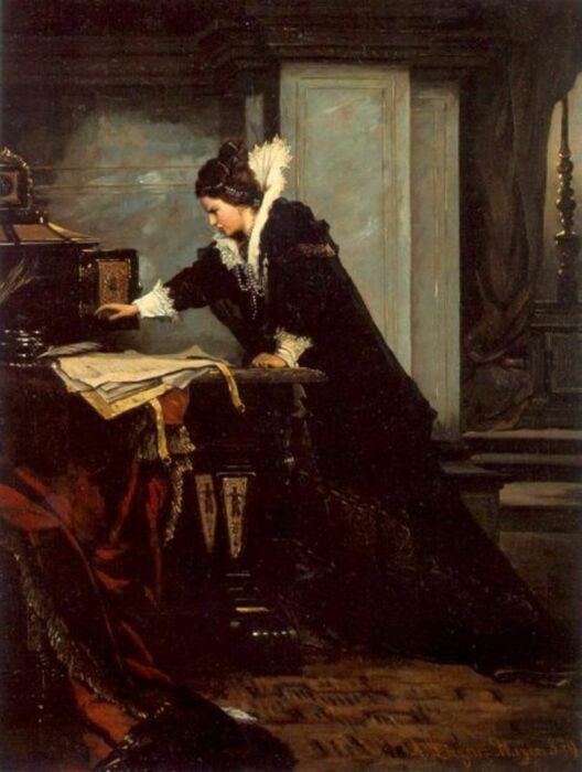 Елизавета подписывает смертный приговор Марии Стюрт. \ Фото: yandex.ua.