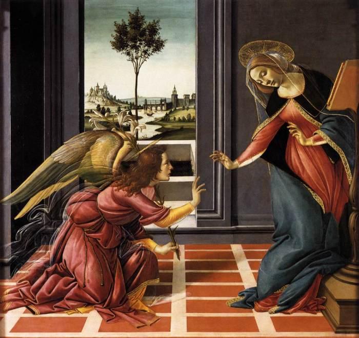 «Благовещение» (1489-1490) Сандро Ботичелли. (Всеобщее достояние).