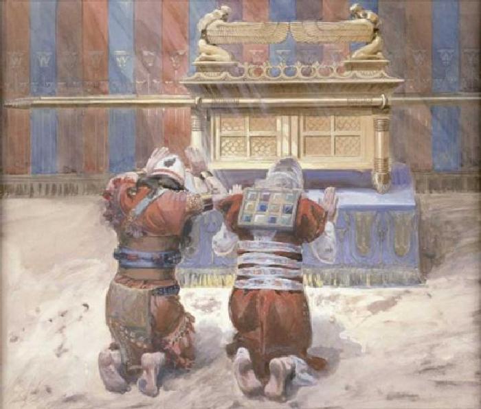 Моисей и Иисус Навин в Скинии, кланяясь перед ковчегом (1896-1902). Джеймс Тиссо. (Всеобщее достояние).