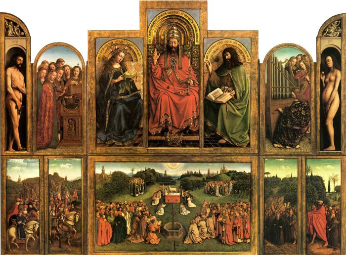 Гентский алтарь или поклонение Агнцу (1432). Ян ван Эйк. (Всеобщее достояние).