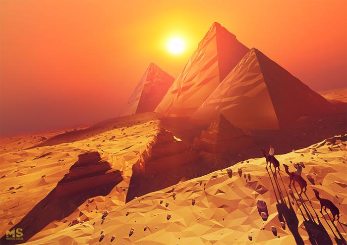 Картины-оригами, на которых реальный мир выглядит как компьютерная модель