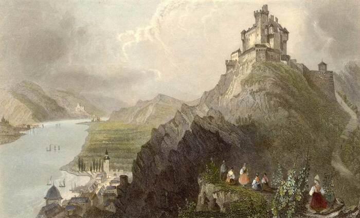 Гравюра замка Марксбург, 1844 год. \ Фото: marksburg.de.