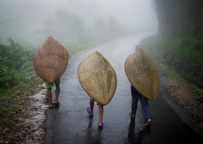 Рабочие идут под традиционными зонтами Ксахи, сделанными из бамбука и банановых листьев. Мегхалая, Индия.