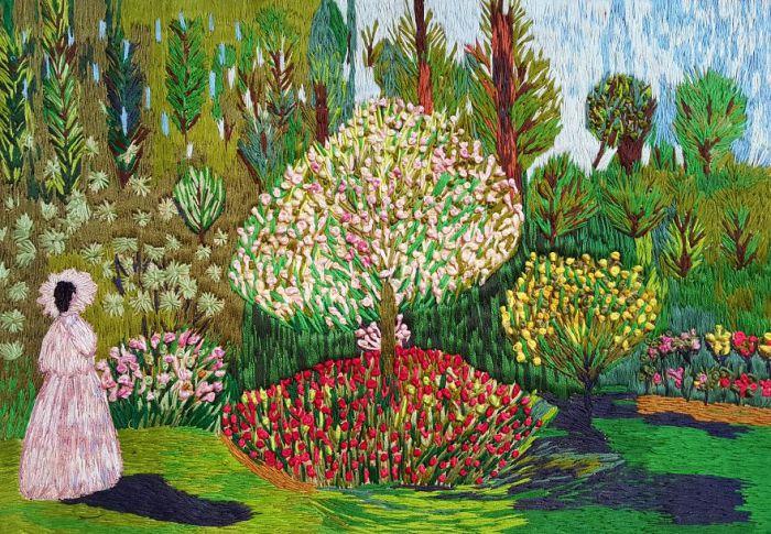 Девушка в саду. Автор: Меко Гелашвили.