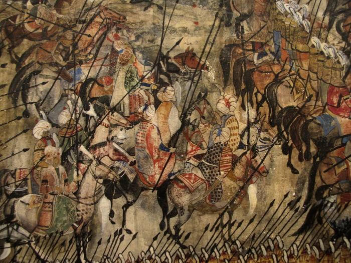 Фрагмент 300 арагвинцев (300 спартанцев из Арагви. Грузинский художник Мераб Абрамишвили (Merab Abramishvili).