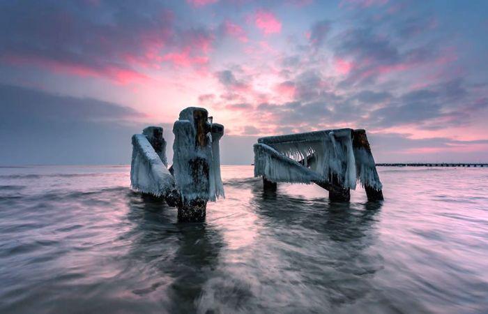 Розовый закат, Балтийское море. Автор: Michal Olech.