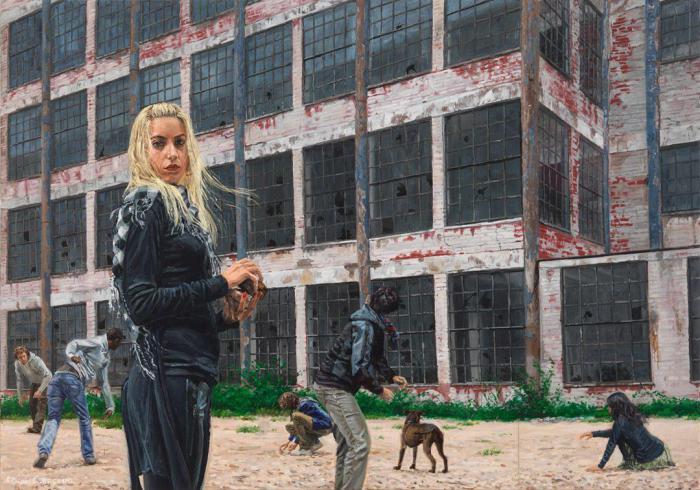 Девушка во дворе. Автор: Michеle Del Сampo.