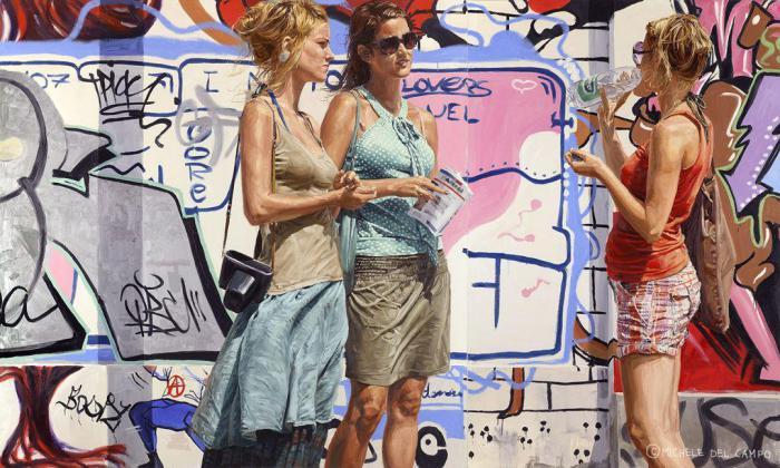Встреча трёх подруг. Автор: Michеle Del Сampo.