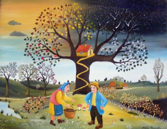 За грибами. Работы румынского художника-наивиста Михайя Даскалу (Mihai Dascalu).