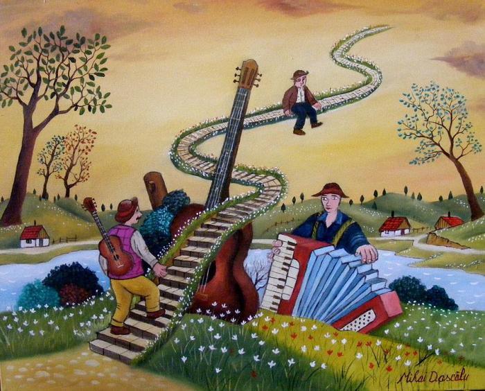 Музыканты. Работы румынского художника-наивиста Михайя Даскалу (Mihai Dascalu).