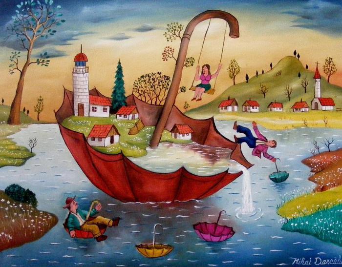Наводнение. Работы румынского художника-наивиста Михайя Даскалу (Mihai Dascalu).