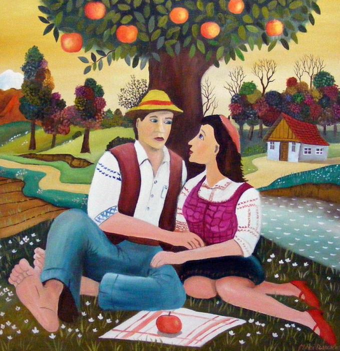 Влюблённые. Работы румынского художника-наивиста Михайя Даскалу (Mihai Dascalu).