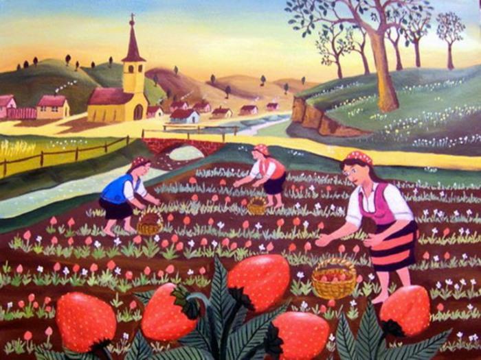 Клубничное поле. Работы румынского художника-наивиста Михайя Даскалу (Mihai Dascalu).
