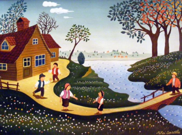 Соседи. Работы румынского художника-наивиста Михайя Даскалу (Mihai Dascalu).