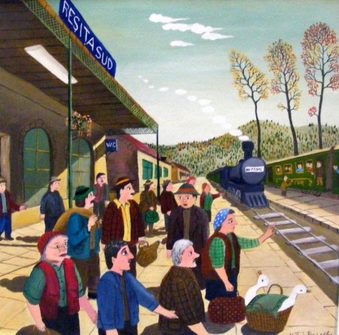 На вокзале. Работы румынского художника-наивиста Михайя Даскалу (Mihai Dascalu).