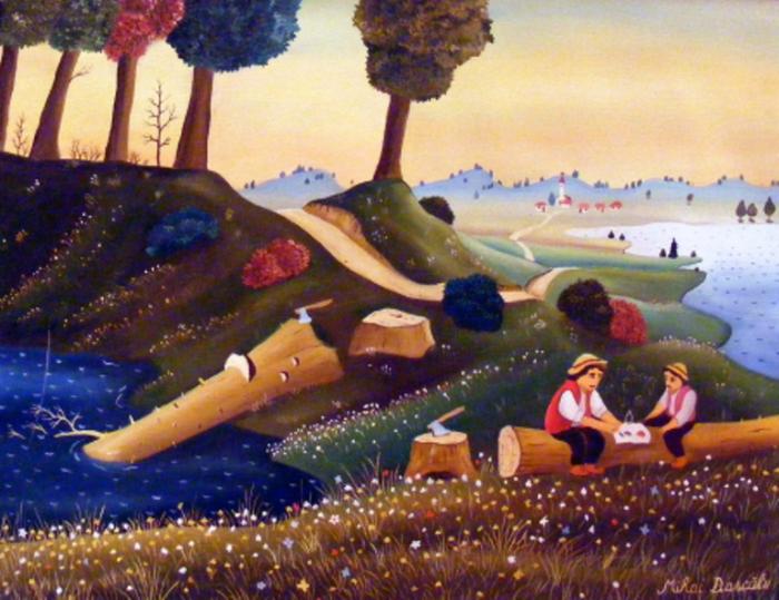 В лесу. Работы румынского художника-наивиста Михайя Даскалу (Mihai Dascalu).