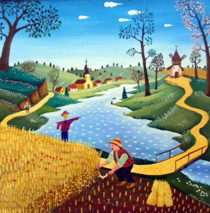 сбор урожая. Работы румынского художника-наивиста Михайя Даскалу (Mihai Dascalu).