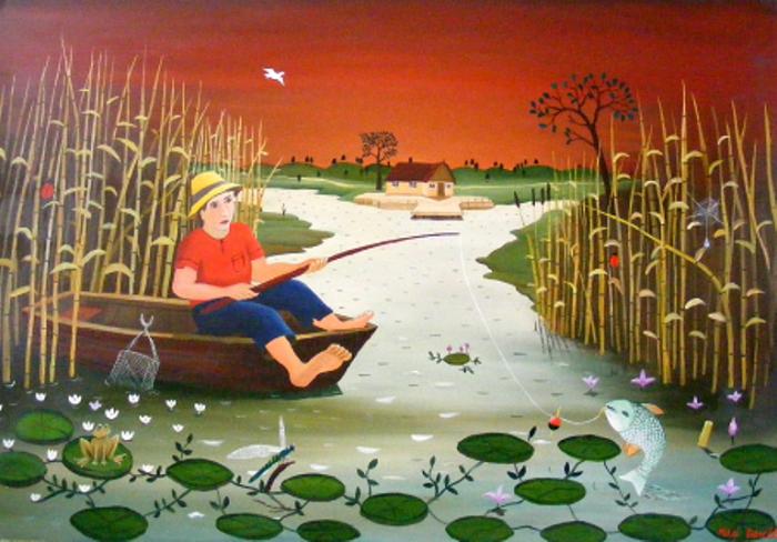 Рыбак. Работы румынского художника-наивиста Михайя Даскалу (Mihai Dascalu).