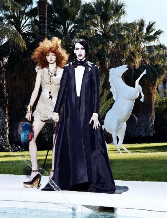 Певец Мэрилин Мэнсон и модель Лили Коул в фэшн-фотографиях Майлза Олдриджа (Miles Aldridge).