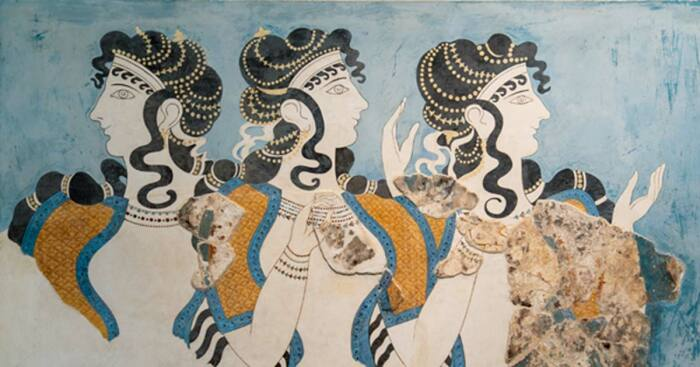 Минойские дамы в синей фреске из Кносского дворца. \ Фото: twitter.com.