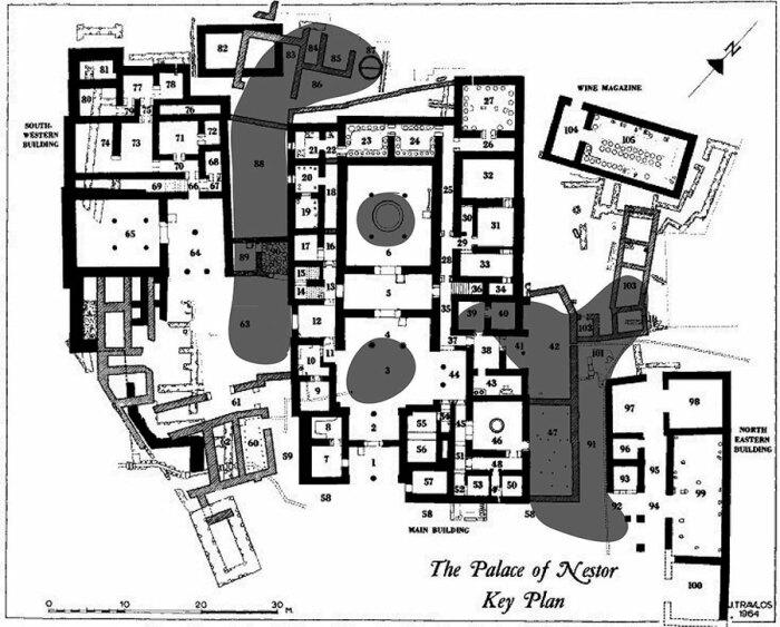План микенского Дворца Нестора в Пилосе. \ Фото: ajaonline.org.