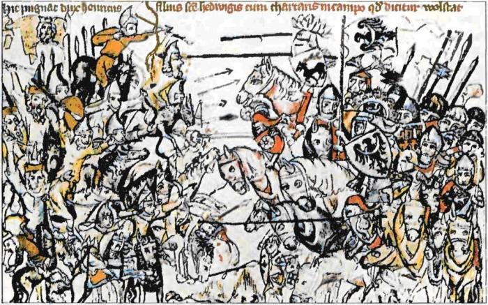 Изображение Легницкой битвы в европейской хронике. \ Фото: google.com.