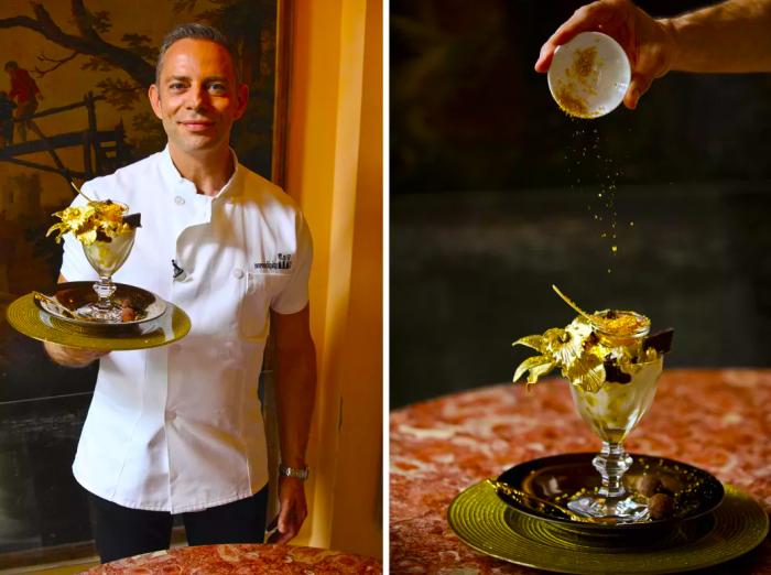 Золотое мороженое с фруктами. | Фото: teenkidsnews.com.