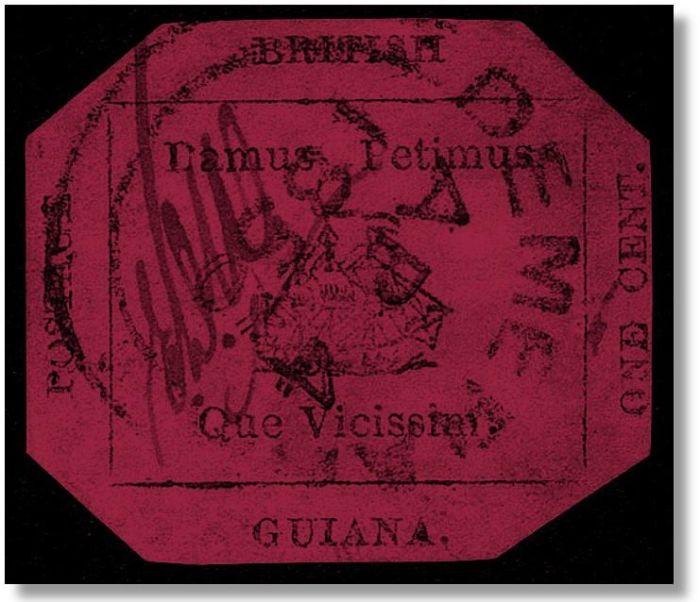 Пурпурный штамп 1856 года из Британской Гвианы. | Фото: pinterest.com.