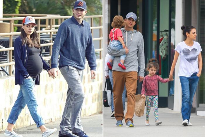 Эштон с Милой Кунис и детьми. \ Фото: weheartit.com.