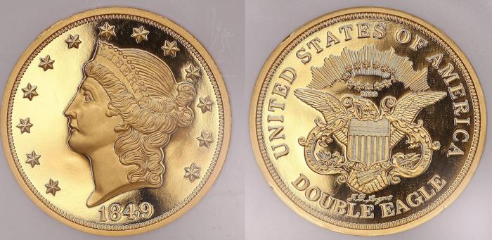 20 долларов с двойным орлом, 1850 год. \ Фото: ma-shops.com.
