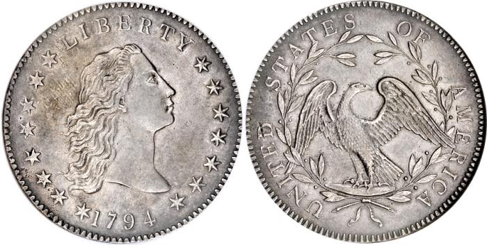 Доллар «Струящиеся волосы», 1794 год. \ Фото: coinshome.net
