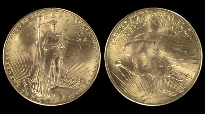20 долларов с двойным орлом, 1933 год. \ Фото: coinnews.net.