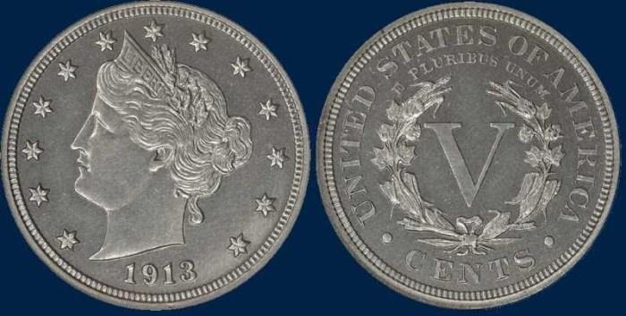 5 центов с изображением Свободы, 1913 год. \ Фото: sites.google.com.