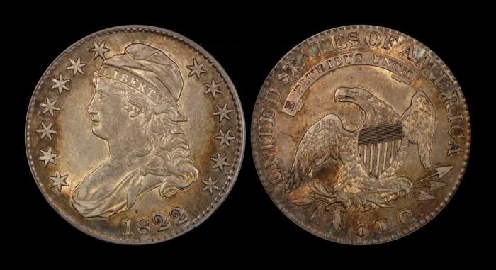 5 долларов с половинчатым орлом, 1822 год. \ Фото: forums.collectors.com.