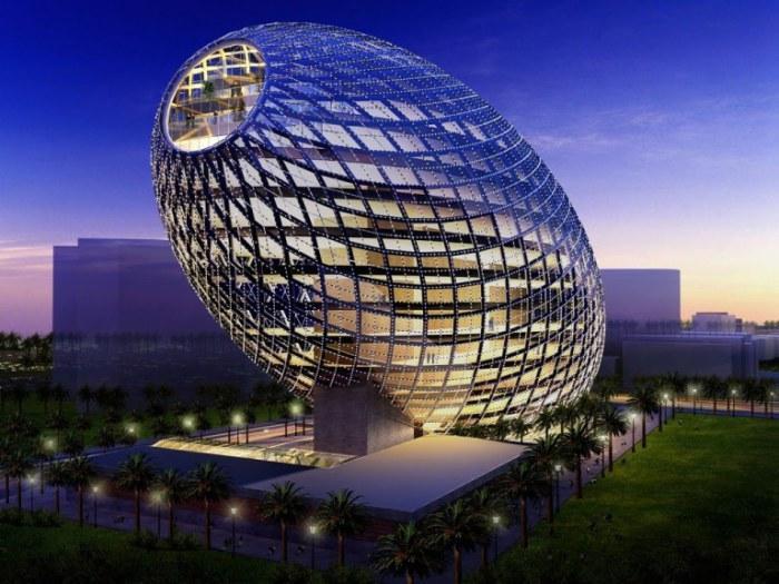 Ультрасовременное яйцеобразное здание в Мумбае, Индия.