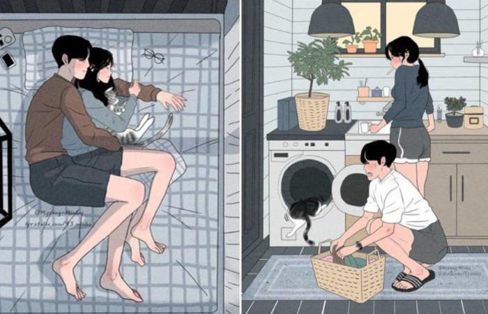Семейная идиллия в уютных работах художника из Южной Кореи. Автор: Myeong-Minho.