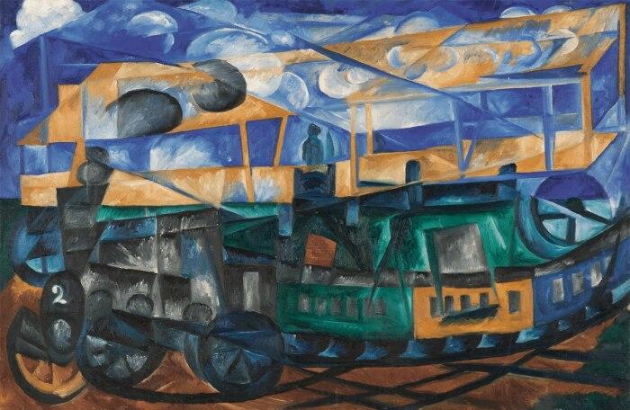 Аэроплан над поездом, Наталья Гончарова. / Фото: ggpht.com.
