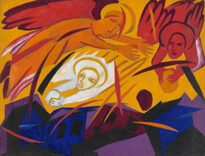 Ангелы, мечущие камни на город, Наталья Гончарова. / Фото: lucywritersplatform.com.