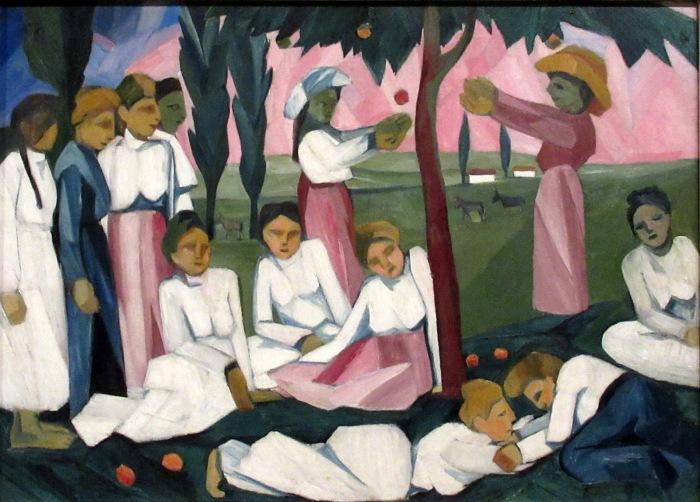 Собирание яблок, 1909 год, Наталья Гончарова. / Фото: blogspot.com.